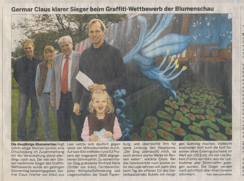 Zeitungsartikel Germar Sieger beim Graffiti-Wettbewerb der Blumenschau