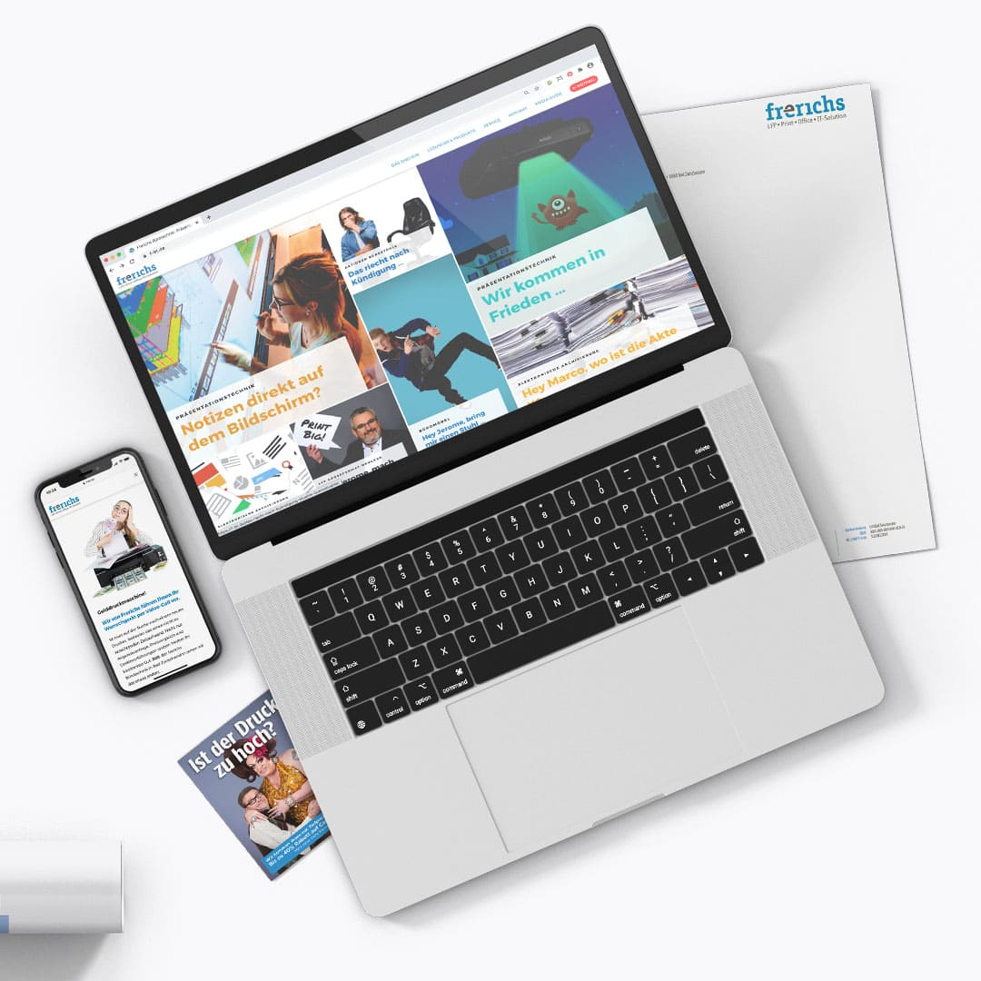 Webdesign & verschiedene Print-Designs für Frerichs Bürotechnik
