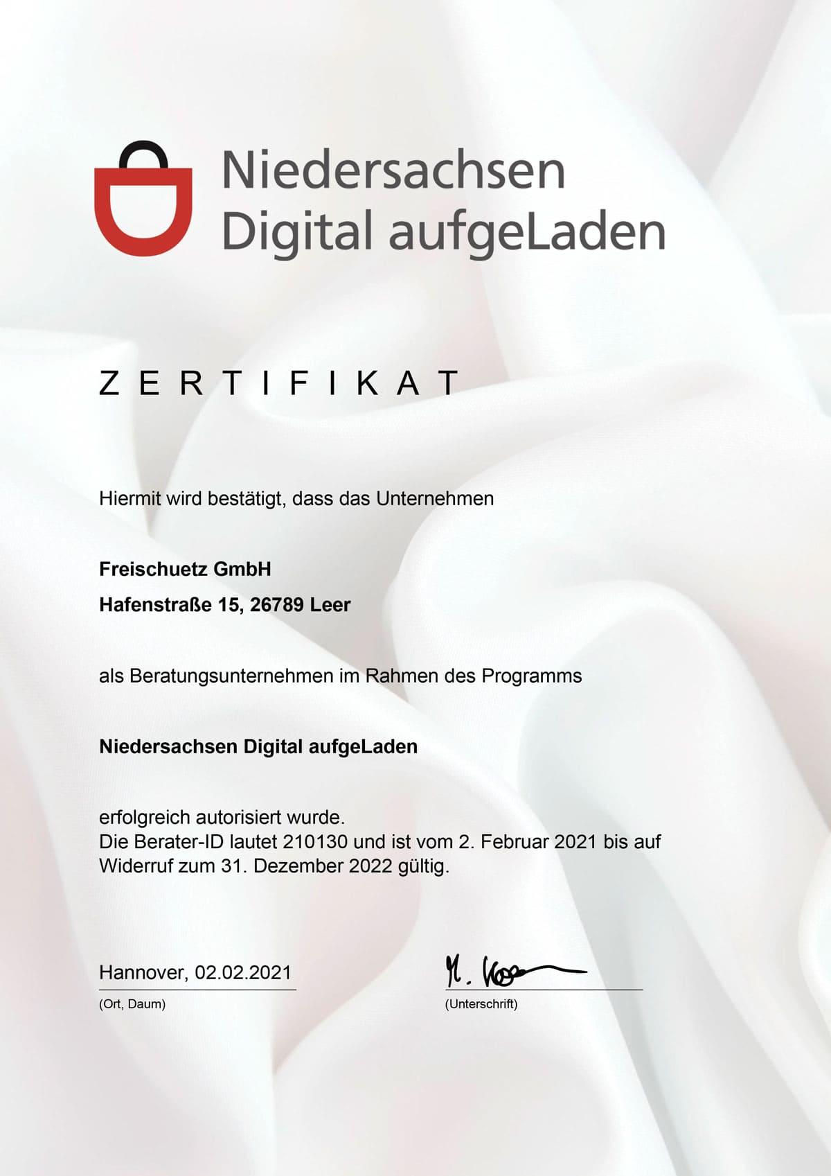 Zertifikat Niedersachsen Digital aufgeLaden Freischuetz GmbH